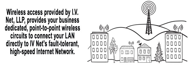 Wireless access provided by I.V. Net, LLP, provides your business dedicated, point-to-point wireless circuits to connect your LAN directly to IV Net's fault-tolerant, high-speed Internet Network.